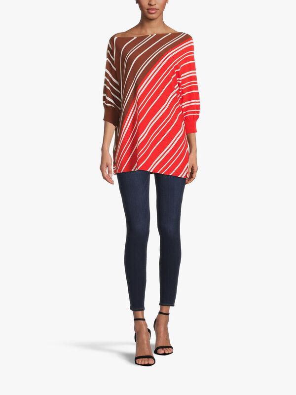 Crop Sleeve Diagonal Stripe Knit