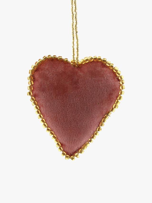 Velvet Heart Pink Decoration