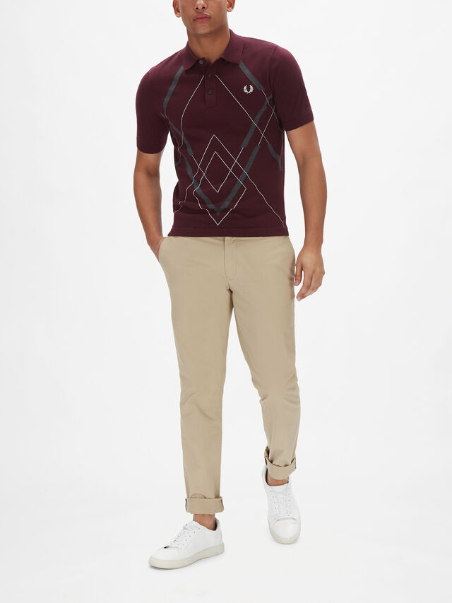 Abstract Argyle Knitted Polo