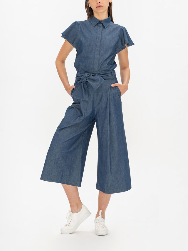 Alare Denim Wide Leg Trousers With Chunky Belt Tie