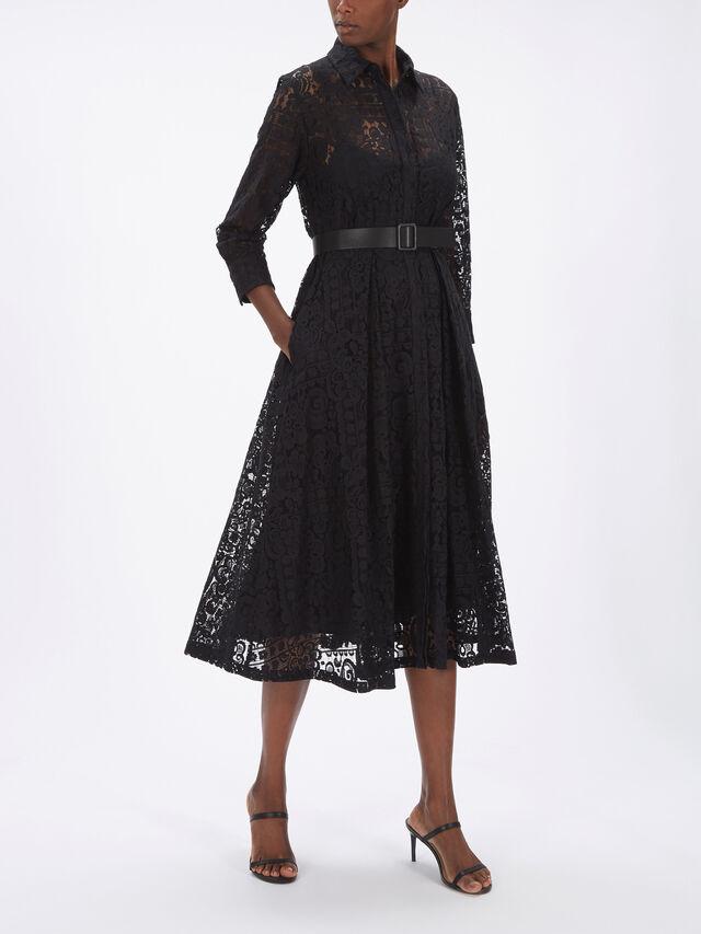 Belgio Lace LS Shirt Dress w/Belt