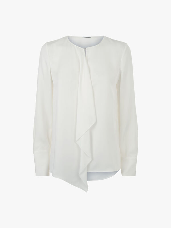 Pernilla Silk Blouse with Frill Detail