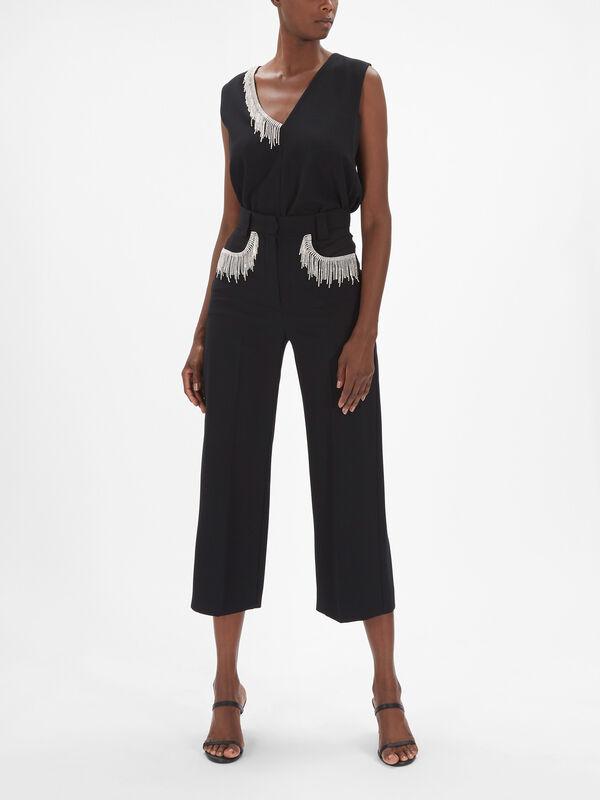 Papilla Wide Leg Culottes with Diamante Fringe Pockets