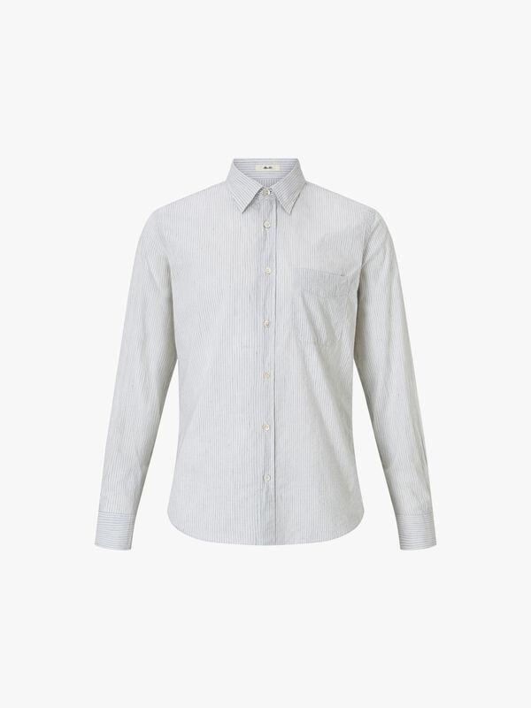 Storm Stripe On Cotton Linen Dobby Shirt