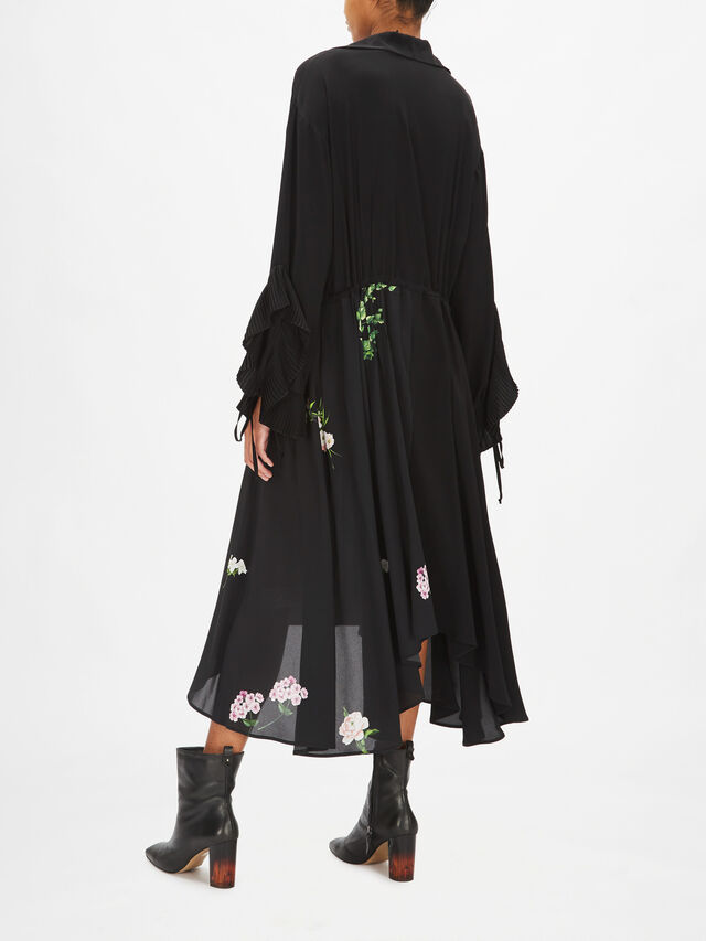 Floral Motif Midi Dress