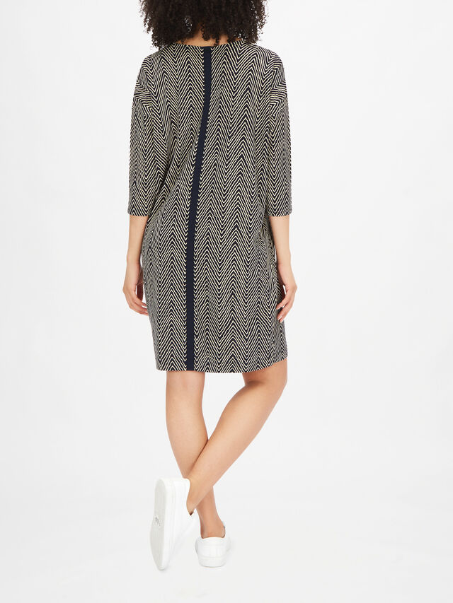 Nebine Crop Sleeve Scoop Neck Zig Zag Print Dress