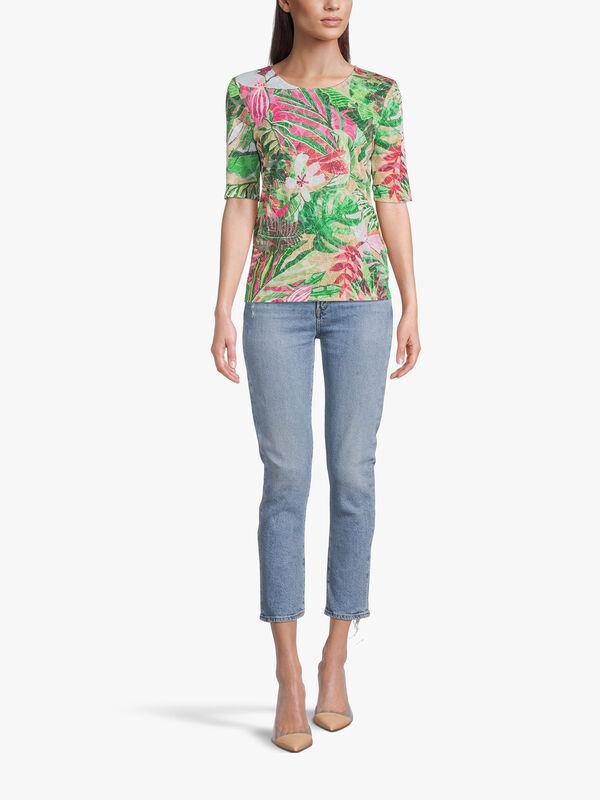 Tropical Print Crop Sleeve Top