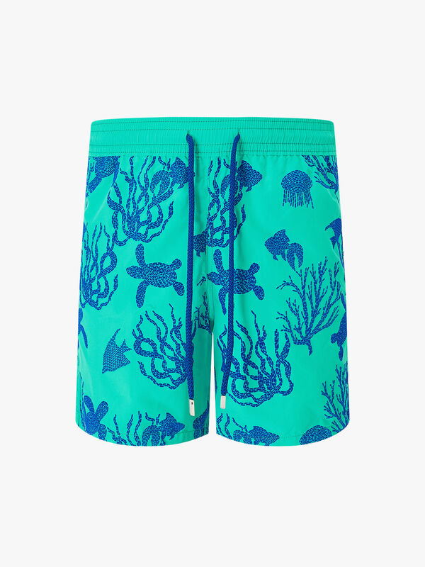 Coral And Turtles Swim Trunks