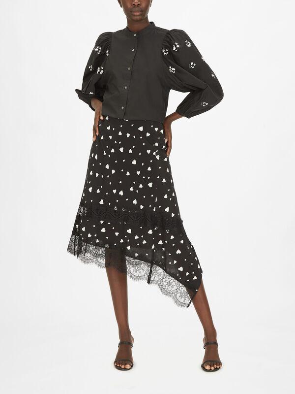 Zanary Lace Asymmetrical Skirt