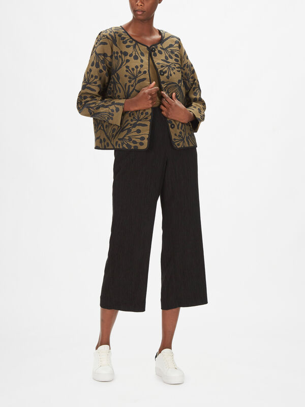 Joleen Jaquard Print Collarless Jacket