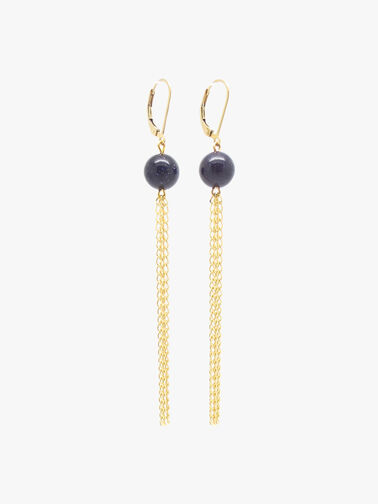 Goldstone Drop Fringe Earrings