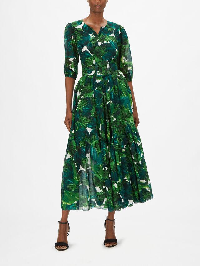 Boat Neck Eggplant Print Ankle Dress