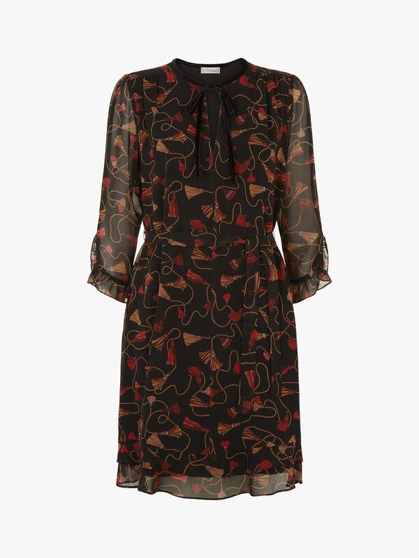 Orda Tie Waist Frill Mini Dress
