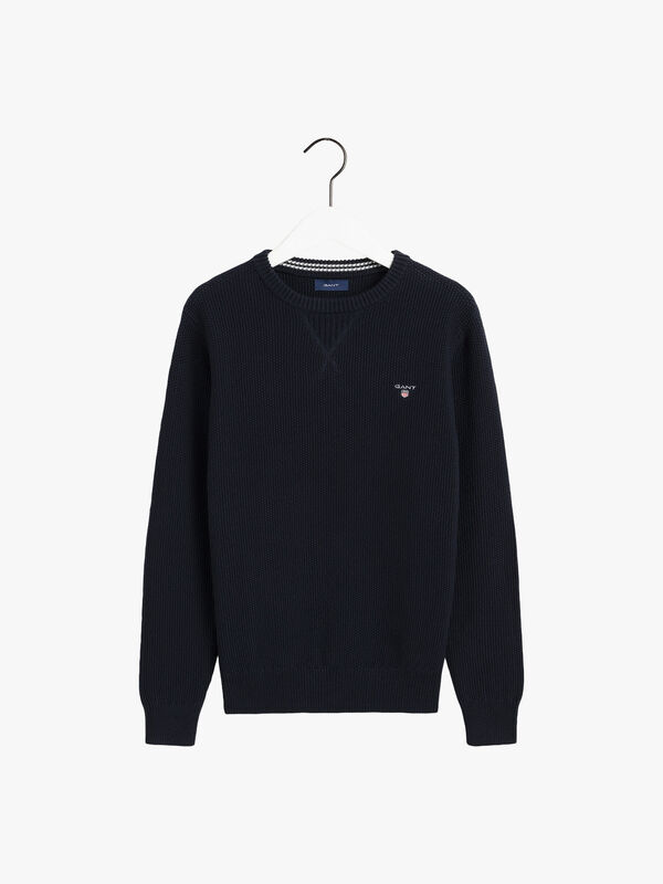 Waffle Structure Crew Neck Jumper