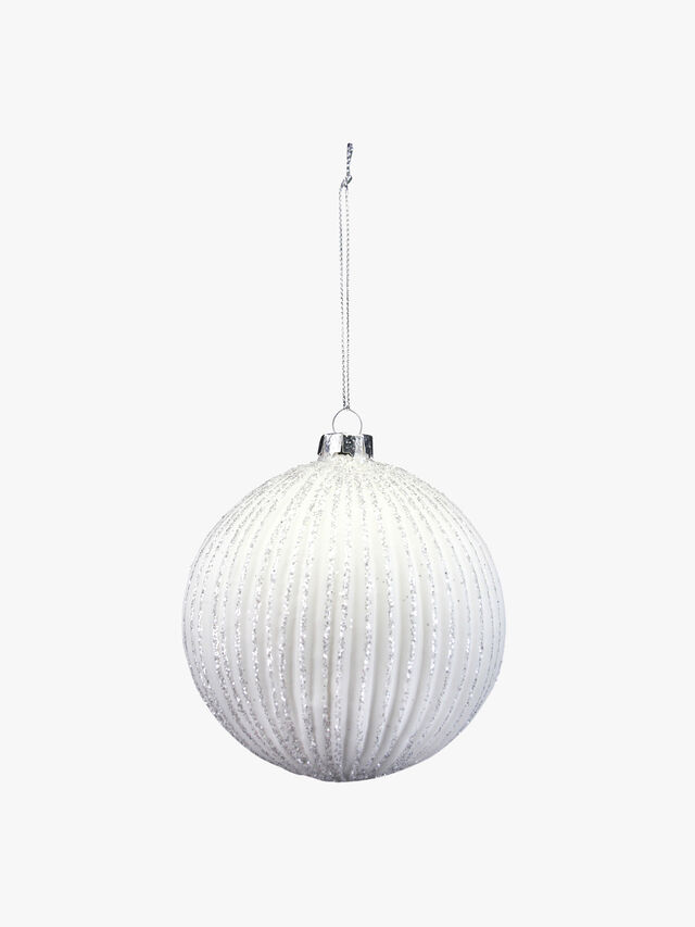 Ribbed Glass Christmas Ball With Glitter