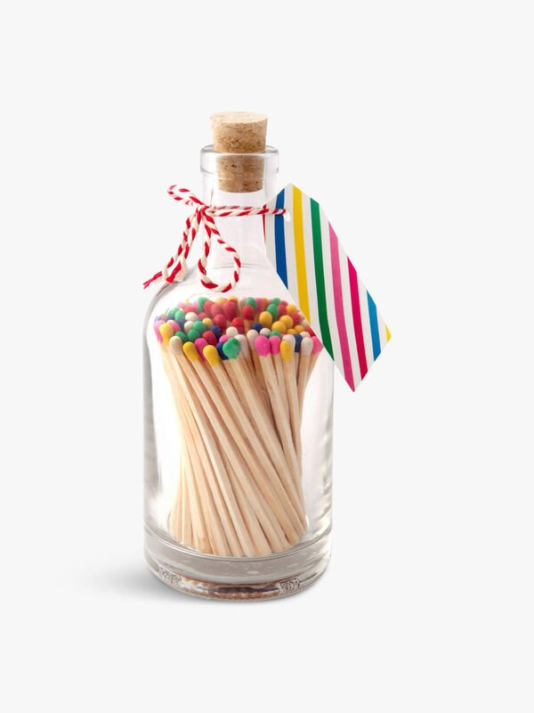 Glass Bottle of Multi-Coloured Matches