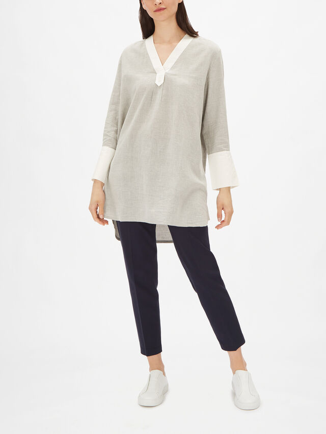 Genetta Cotton Tunic with Extra Wide Cuffs