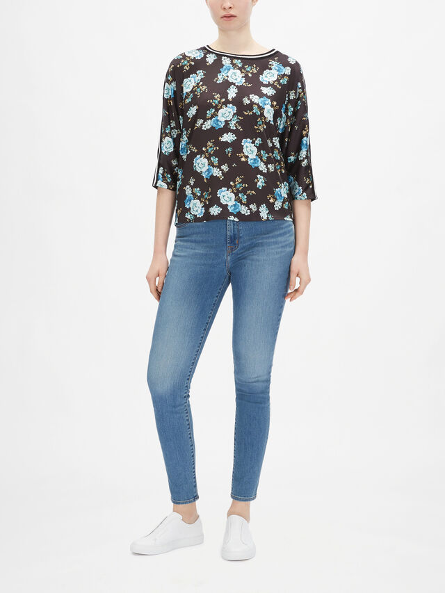 Lurex Trim Print Top Jersey Back