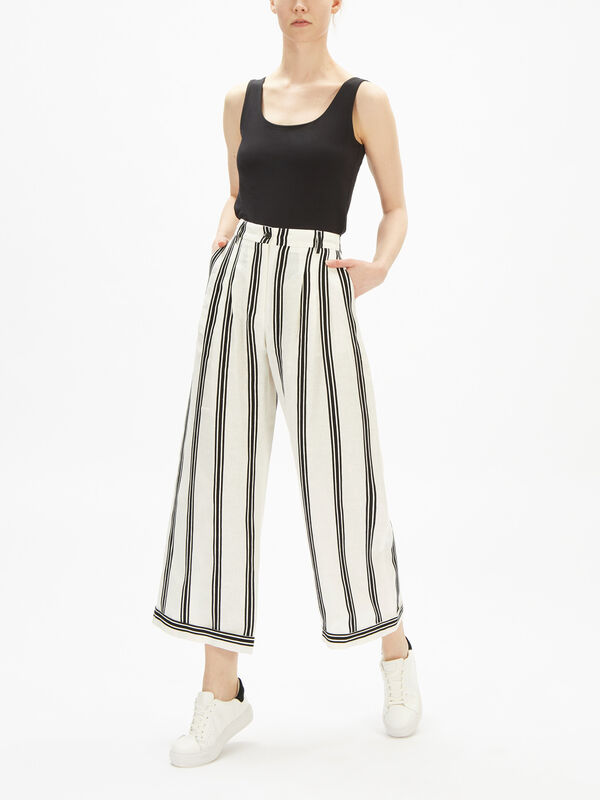 Wide Stripe Crop Linen Trouser