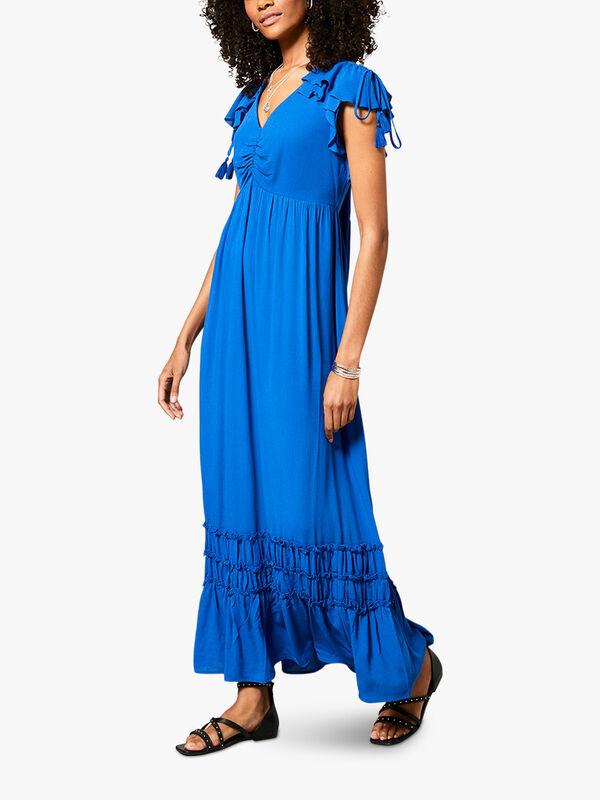Blue Ruffled Maxi Sun Dress