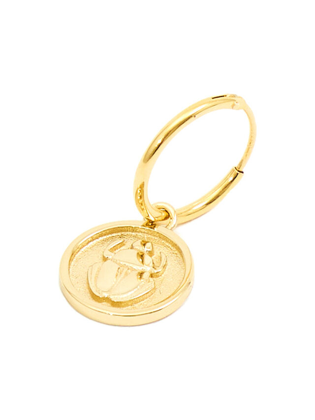 Gold Plated Scarab Earring
