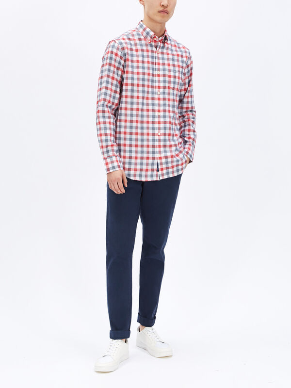 Regular Fit Tech Prep Heather Gingham Oxford Shirt