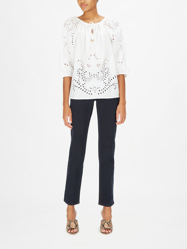 Odianna Eyelet Detail Cotton Blouse With Tie Neck