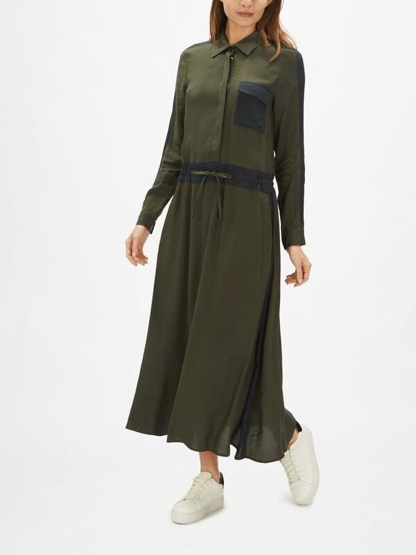 Glenda Tie Waist Shirt Dress with Pockets