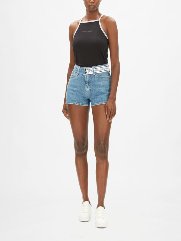High Rise Belted Denim Shorts
