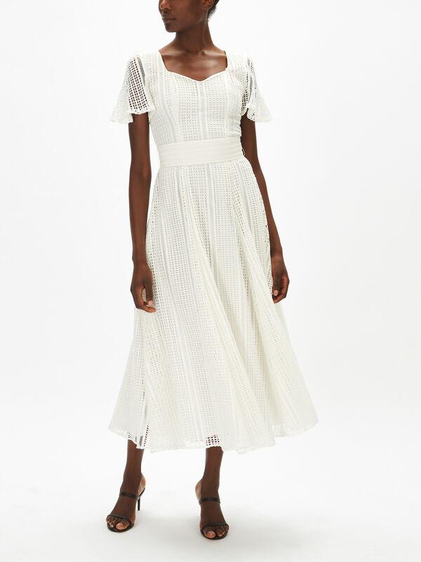 Lace Belted Midi Dress