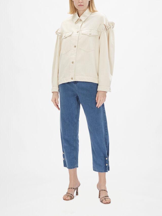 Denim Jacket With Pearl Sleeve