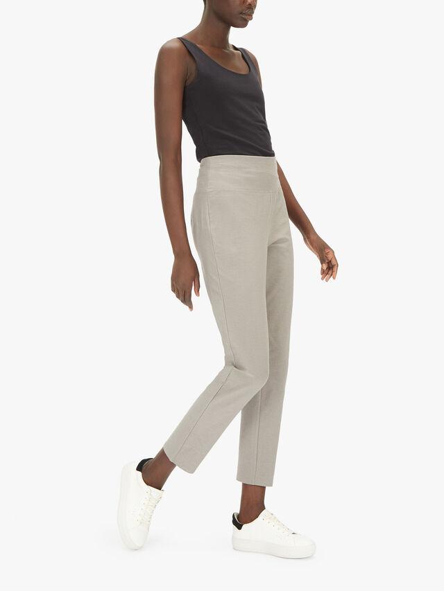 Stretch Crepe High Waist Slim Trouser
