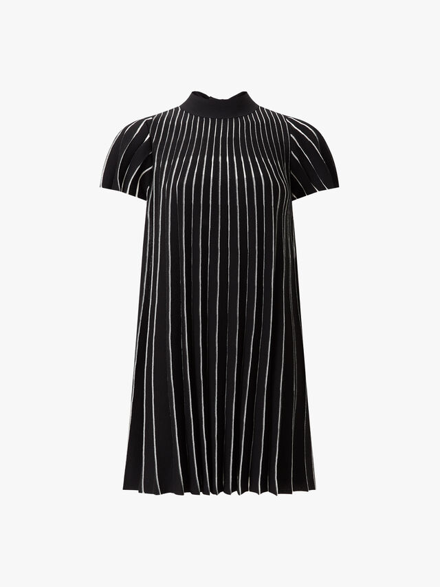 High Neck Pleated Knitted Dress
