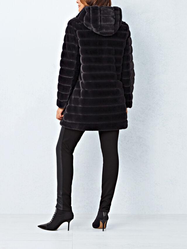 Reversible Faux Fur Hooded Coat