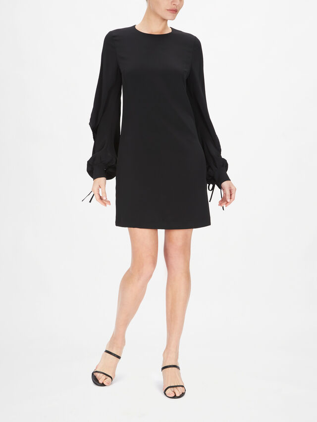 Drawstring Sleeve Satin Crepe Shift Dress
