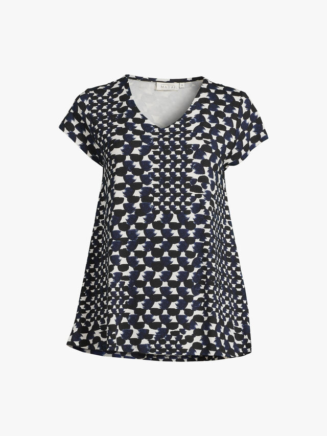 Digna Ink Abstract Print Jersey V Neck Top