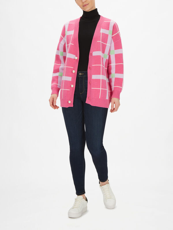 Cecily Check Oversized Cardigan
