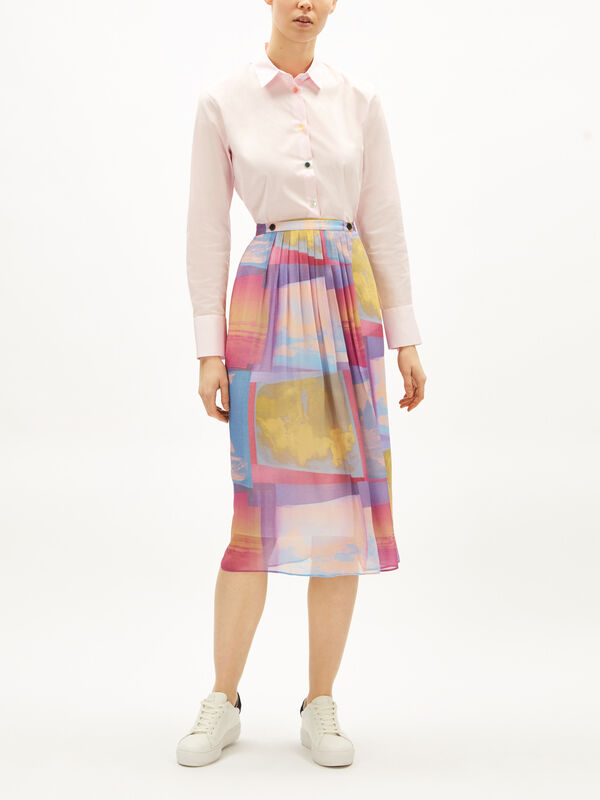 Sheer Colour Block Print Skirt