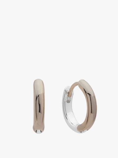 Two Tone Huggie Hoop Earrings