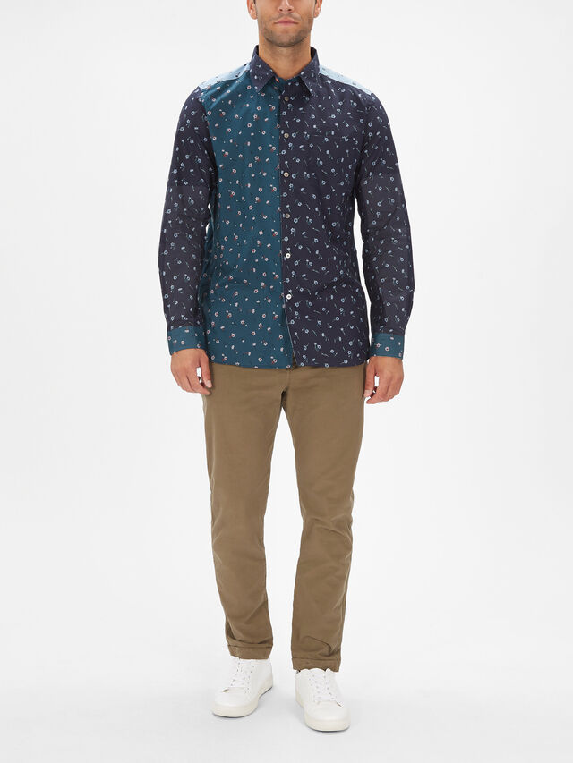 Long Sleeve Floral Contrast Shirt