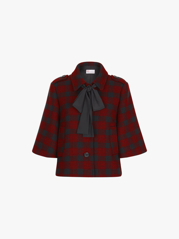 Checked Tie Neck Jacket