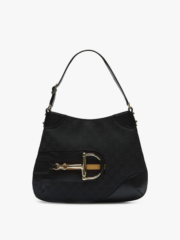 Gucci Black Canvas Hasler Hobo