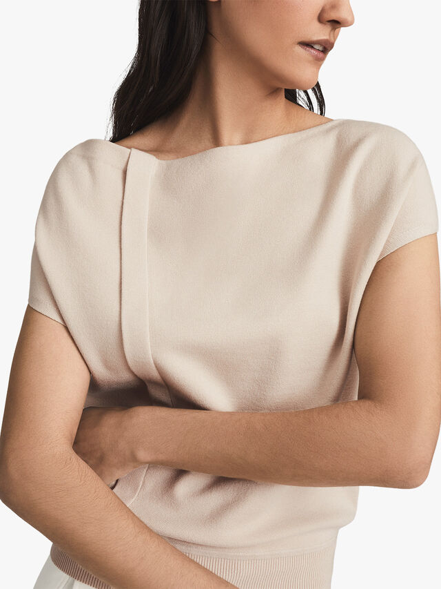CHRISTA Knitted Drape Detail Top