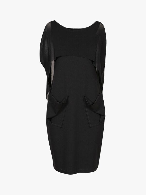 Pocket Dress with Mesh Overlay