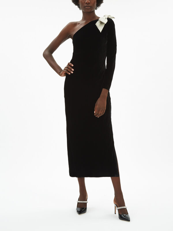 Harper One Shoulder Velvet Midi Dress
