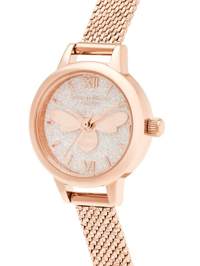 Lucky Bee Mini Dial Rose Gold Boucle Mesh