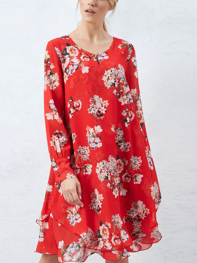Long Sleeve Print Wave Hem Dress