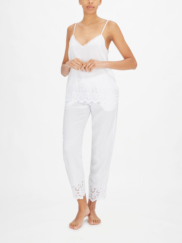 Leah White All Over Embroidery Cami