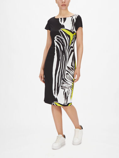 Cap-Slv-Side-Print-Fitted-Dress-211344