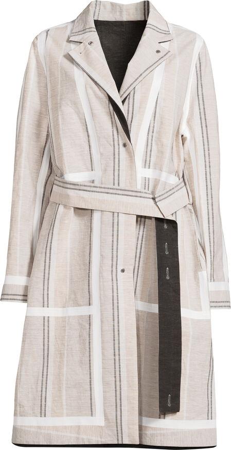 Fine Stripe Reversible Coat with Belt